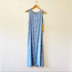 Vintage 90s blue floral shift dress midi NWT 8